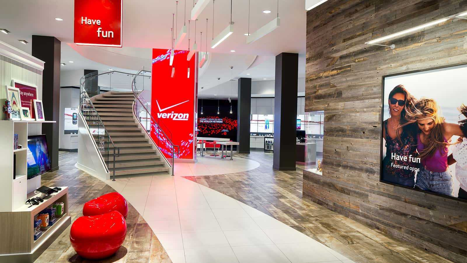 Full view of verizon store with shelves and stairs in the background