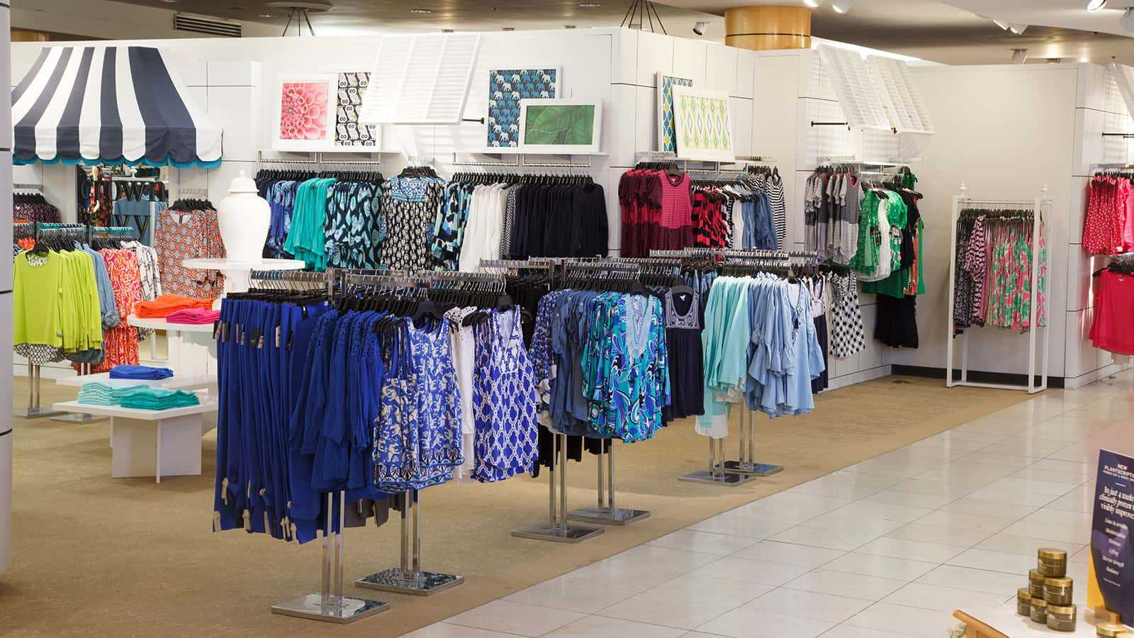 View from left of apparel fixtures of the Crown & Ivy shop-in-shop 2016.