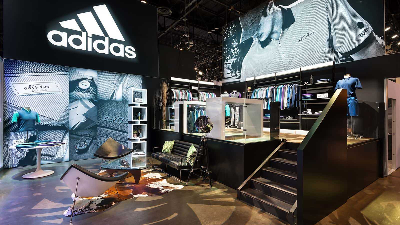 Retail racks and lounge areas the adidas Golf PGA Merchandise Show 2017 experience.