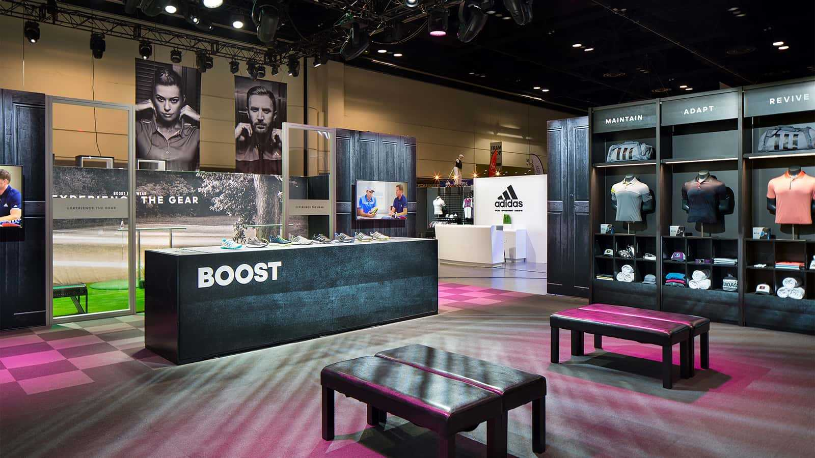 The Boost retail zone at the adidas Golf PGA Merchandise Show 2017 experience.