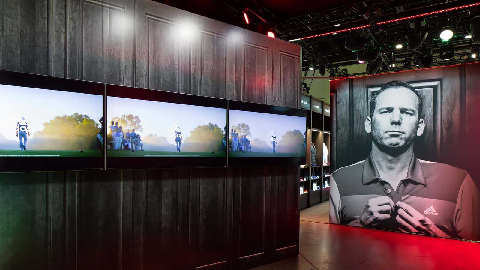 Video displays at the entrance at the adidas Golf PGA Merchandise Show 2017 experience.