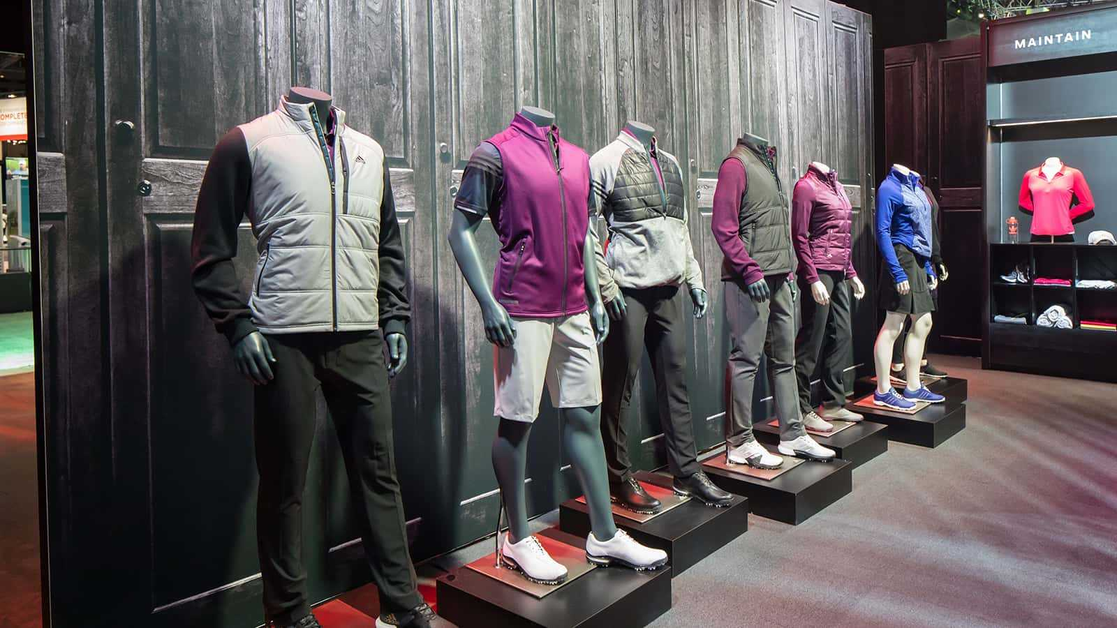 Detail of latest apparel at Entrance of the adidas Golf PGA Merchandise Show 2017 experience.