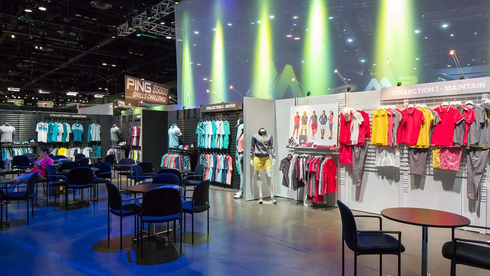 Retail collection and meeting space at the adidas Golf PGA Merchandise Show 2017 experience.