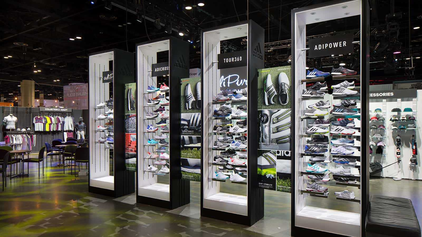Footwear display at the adidas Golf PGA Merchandise Show 2017 experience.