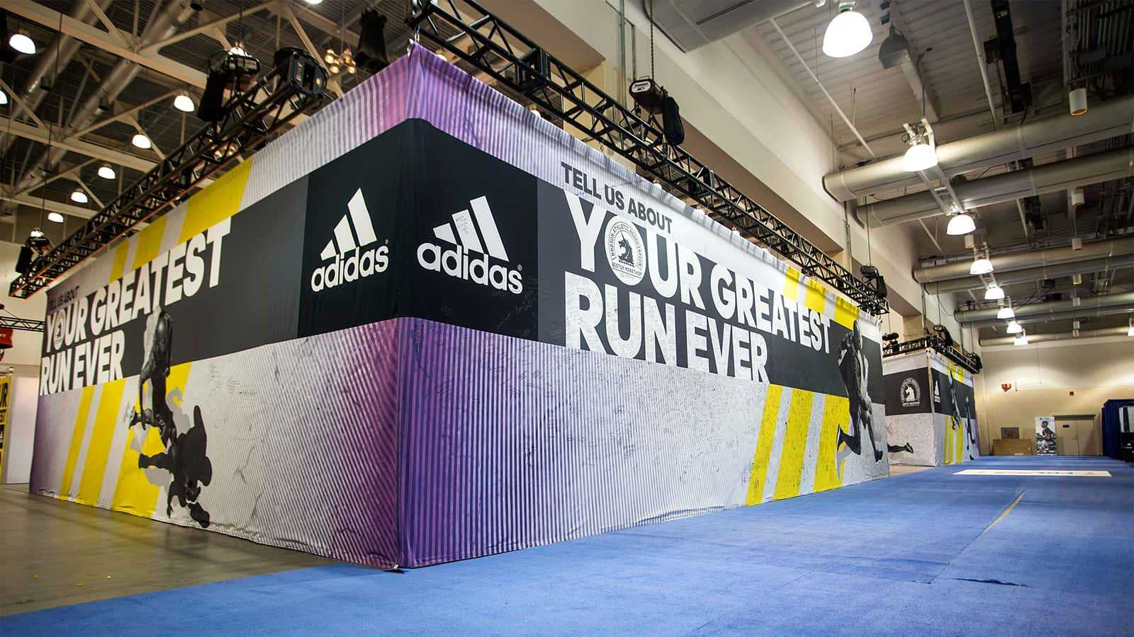Your Greatest Run Ever wall graphic at adidas Boston Marathon store 2015 .