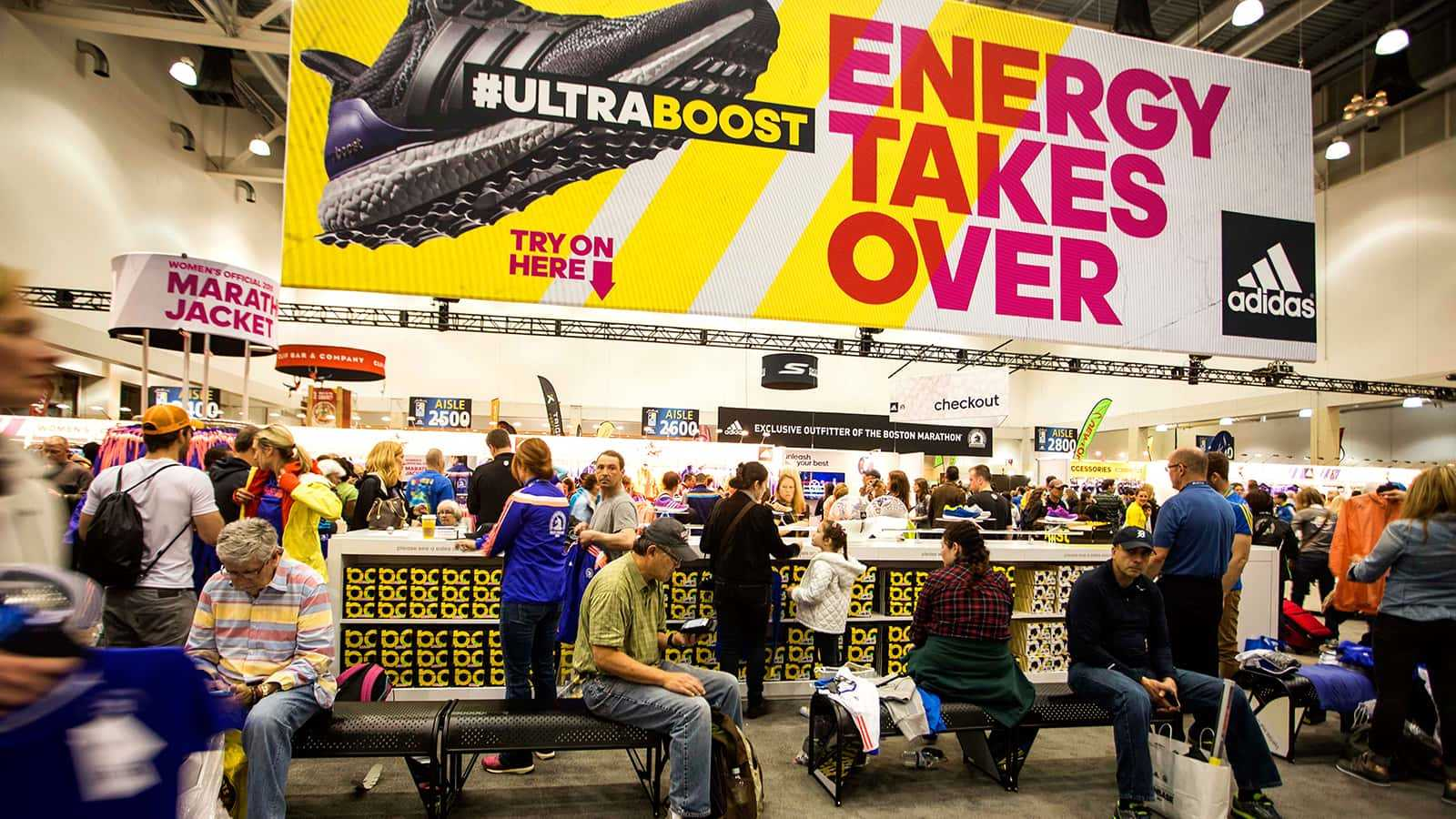 'Energy Takes Over' shoe fitting center at the adidas Boston Marathon store 2015.