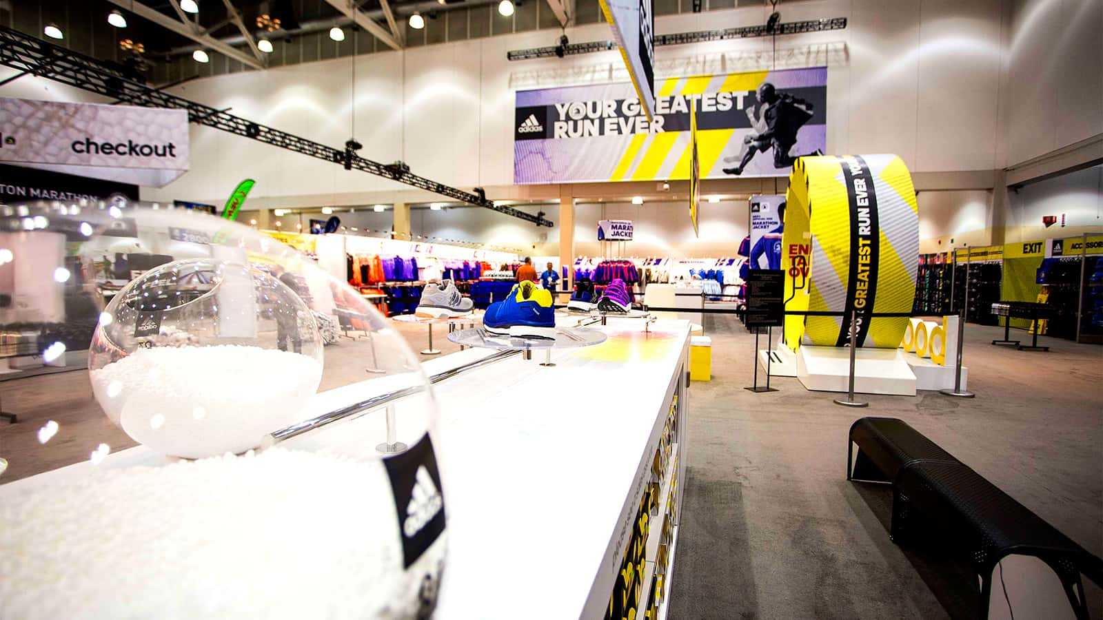 An eye level view of the full adidas Boston Marathon store 2015.