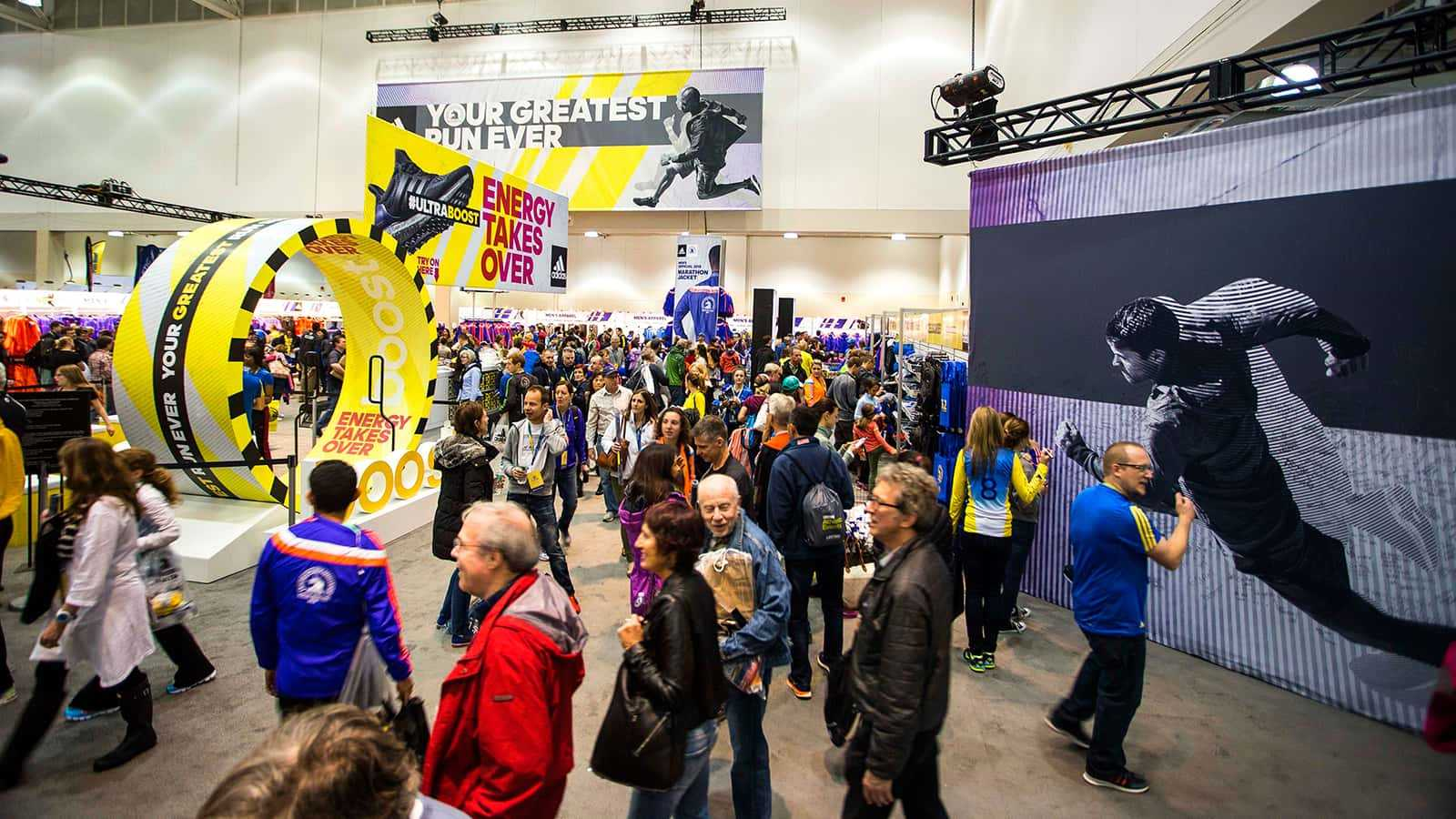 A view of the adidas Boston Marathon store w/ Attendees 2015.