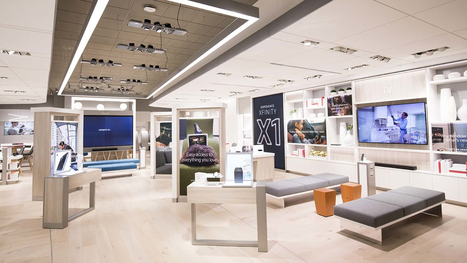 To encourage product exploration, Comcast Xfinity stores are divided into six distinct, yet interconnected, zones.