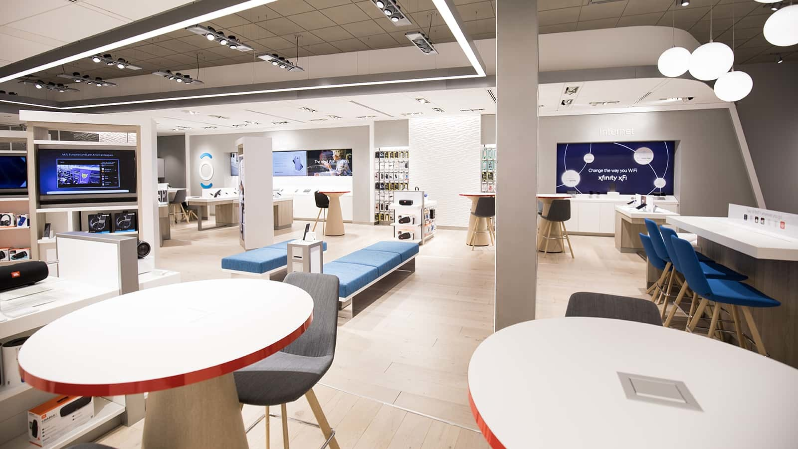 Waiting areas in the new Comcast Xfinity stores.