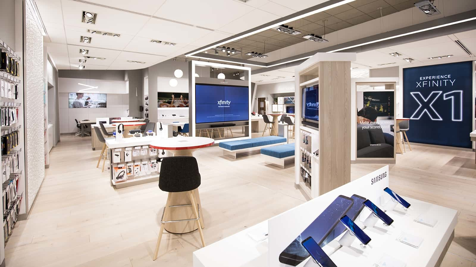 Comcast Xfinity stores showcase a variety of products.