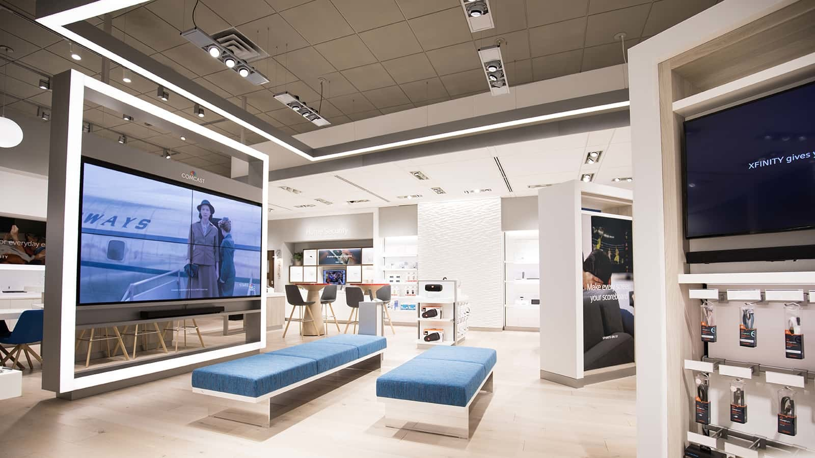 The Comcast Xfinity Stores were built to be bright and inviting.