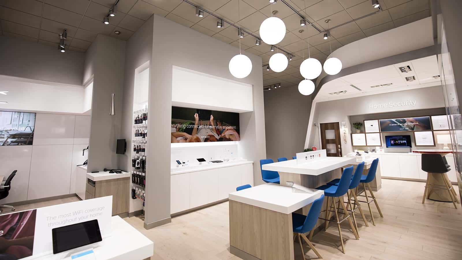 Specialty lighting is used in the new Comcast Xfinity stores.