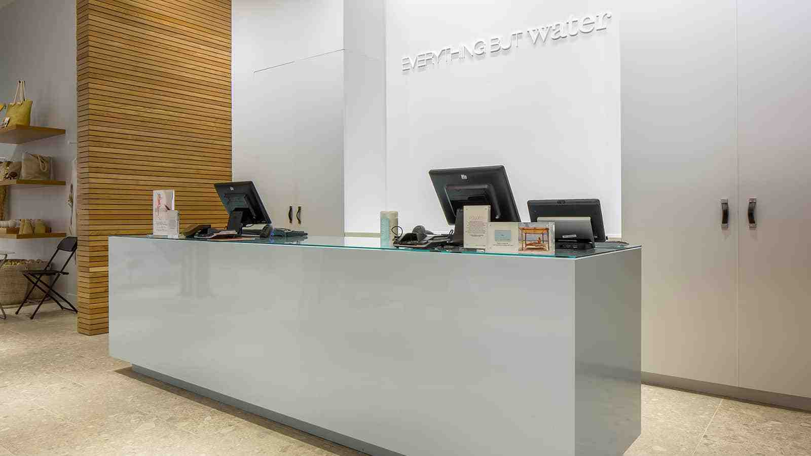 Checkout registers and front desk at Everything But Water flagship storefront in 2016.