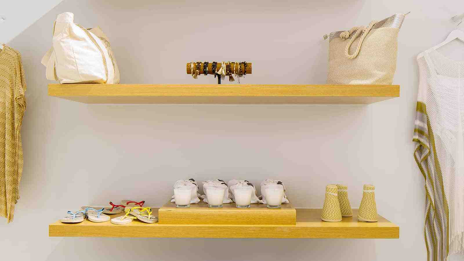 Floating shelves at the Everything But Water flagship storefront in 2016.