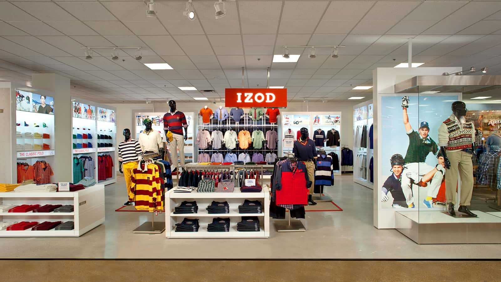 Full view of IZOD JCPenney Men's shop-in-shop.