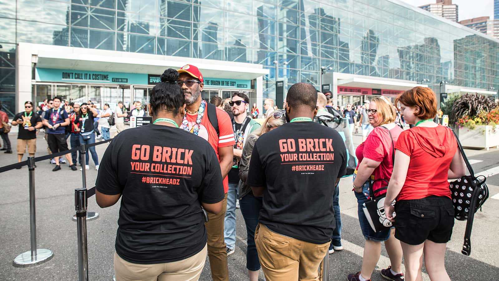Fans line up to purchase limited edition LEGO Star Wars BrickHeadz at the #GoBrick zone at New York Comic Con 2017.