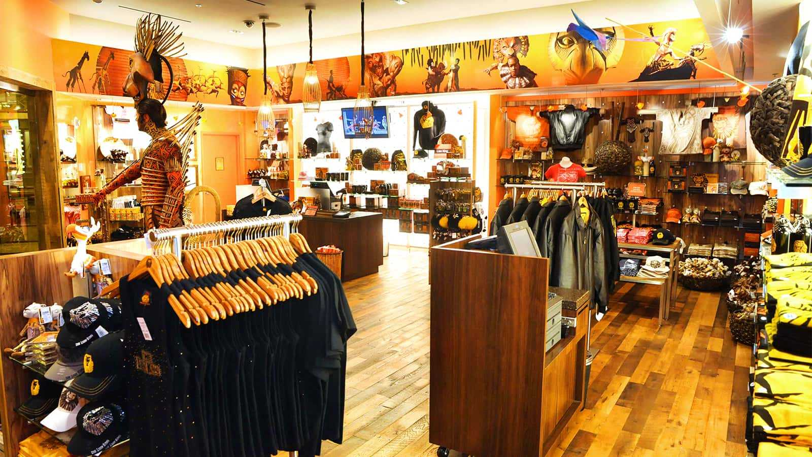 Racks and fixtures of the Mandalay Bay Lion King Theater Store.