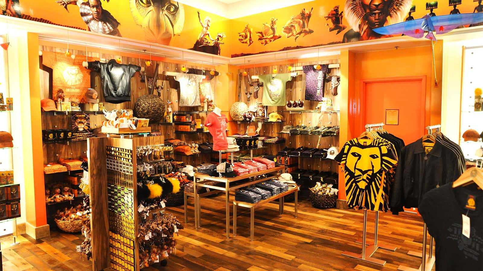 Retail fixtures of the Mandalay Bay Lion King Theater Store.