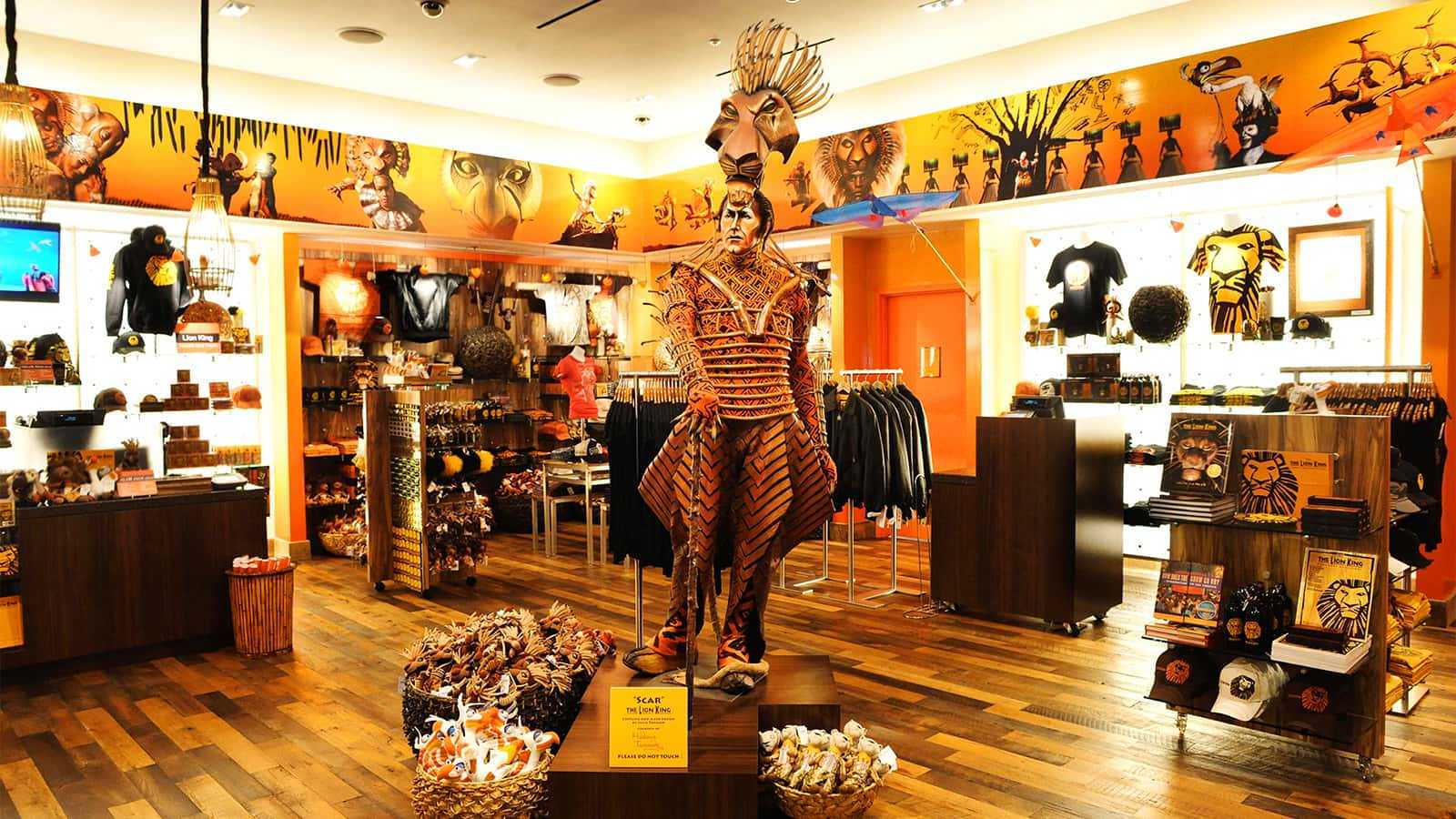 Costume display in the center of the Mandalay Bay Lion King Theater Store.