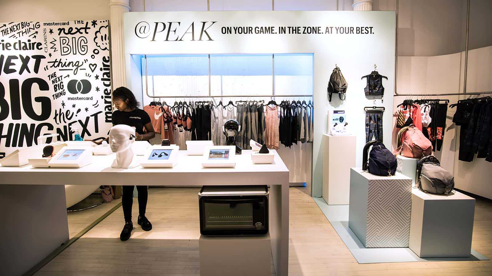 View of store displays at Marie Claire Next Big Thing Concept Shop in New York City 2017.