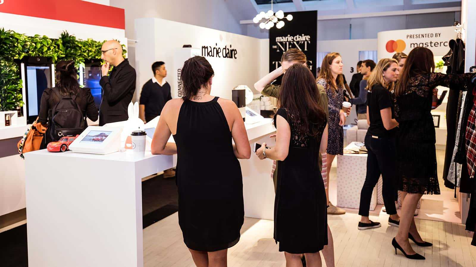 Customers enjoying the shopping at Marie Claire Next Big Thing Concept Shop in New York City 2017.