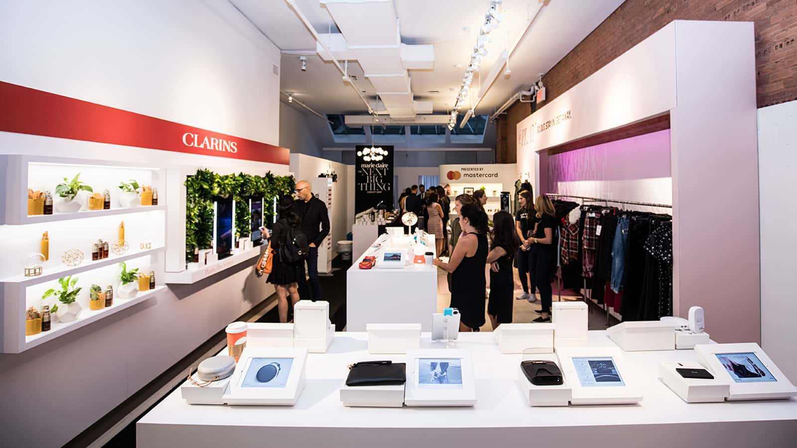 View of store technology of Marie Claire Next Big Thing Concept Shop in New York City 2017.