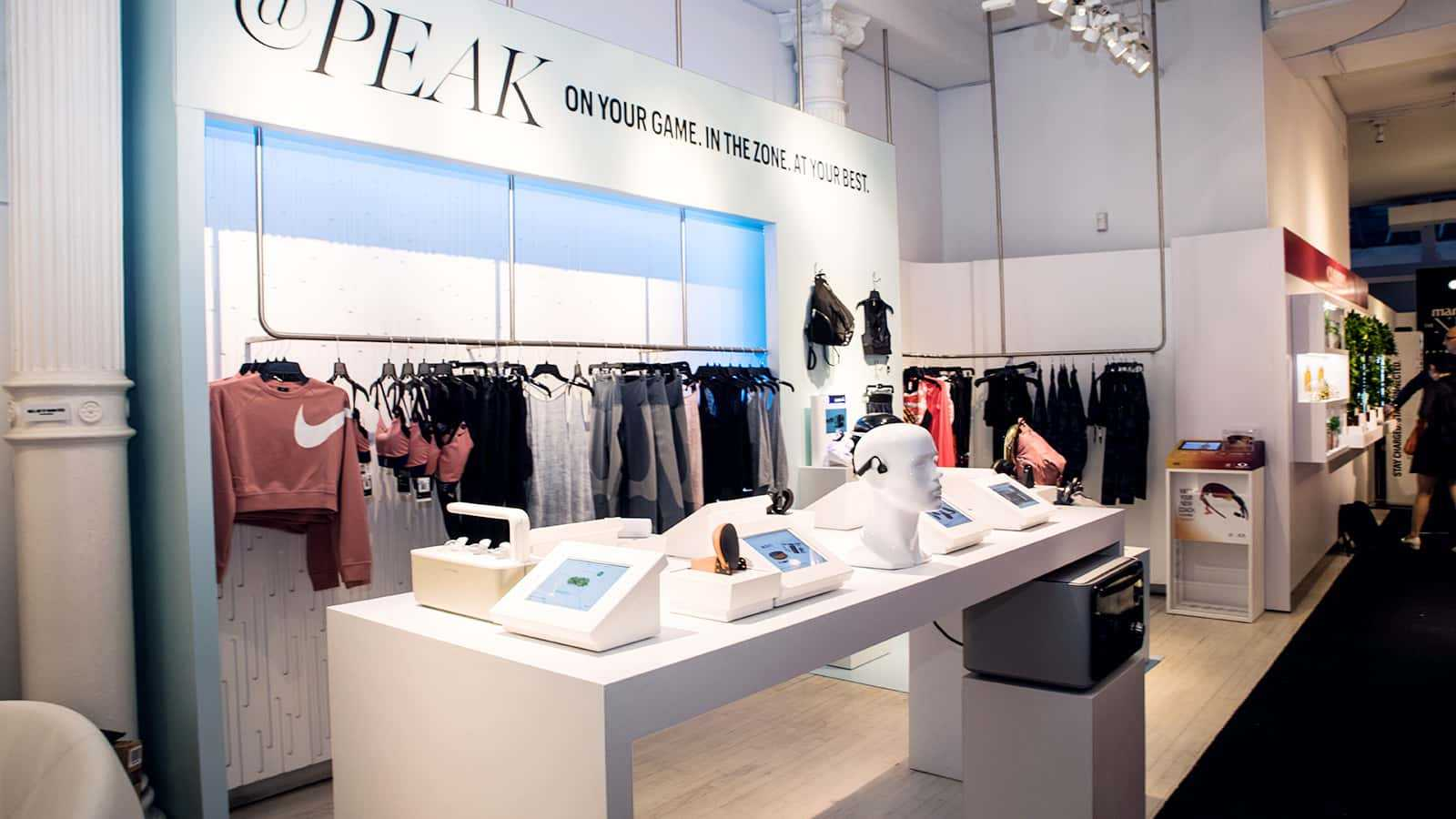 View from left of @Peak zone at Marie Claire Next Big Thing Concept Shop in New York City 2017.