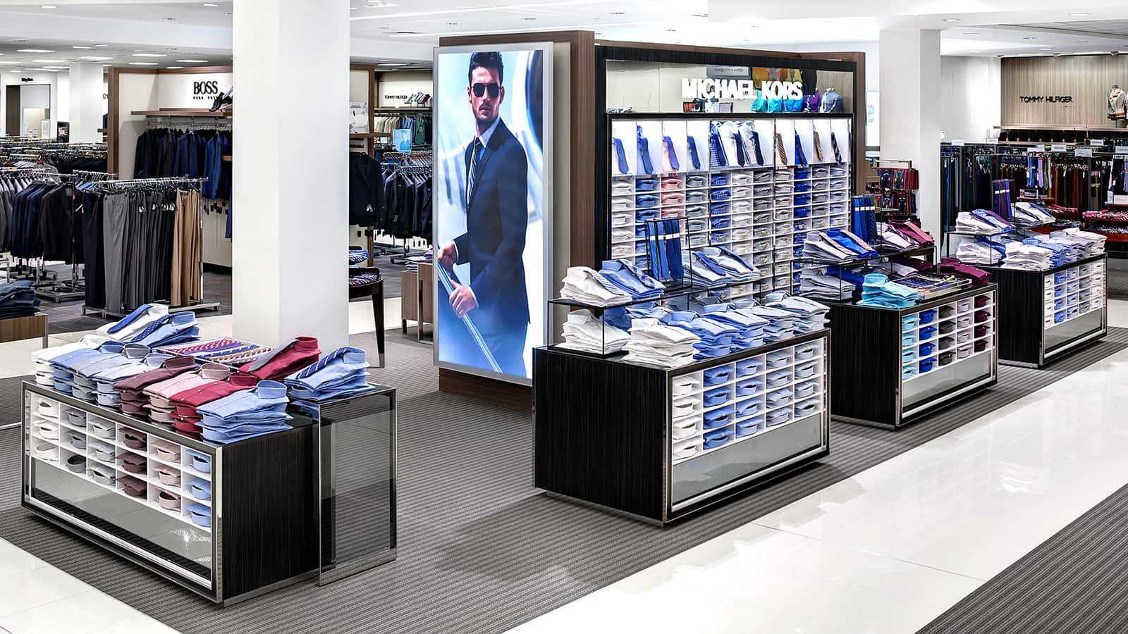 View from left side of Michael Kors prototype Men's Dress Shirt and Tie Shop-in-Shop, Macy's 2014.