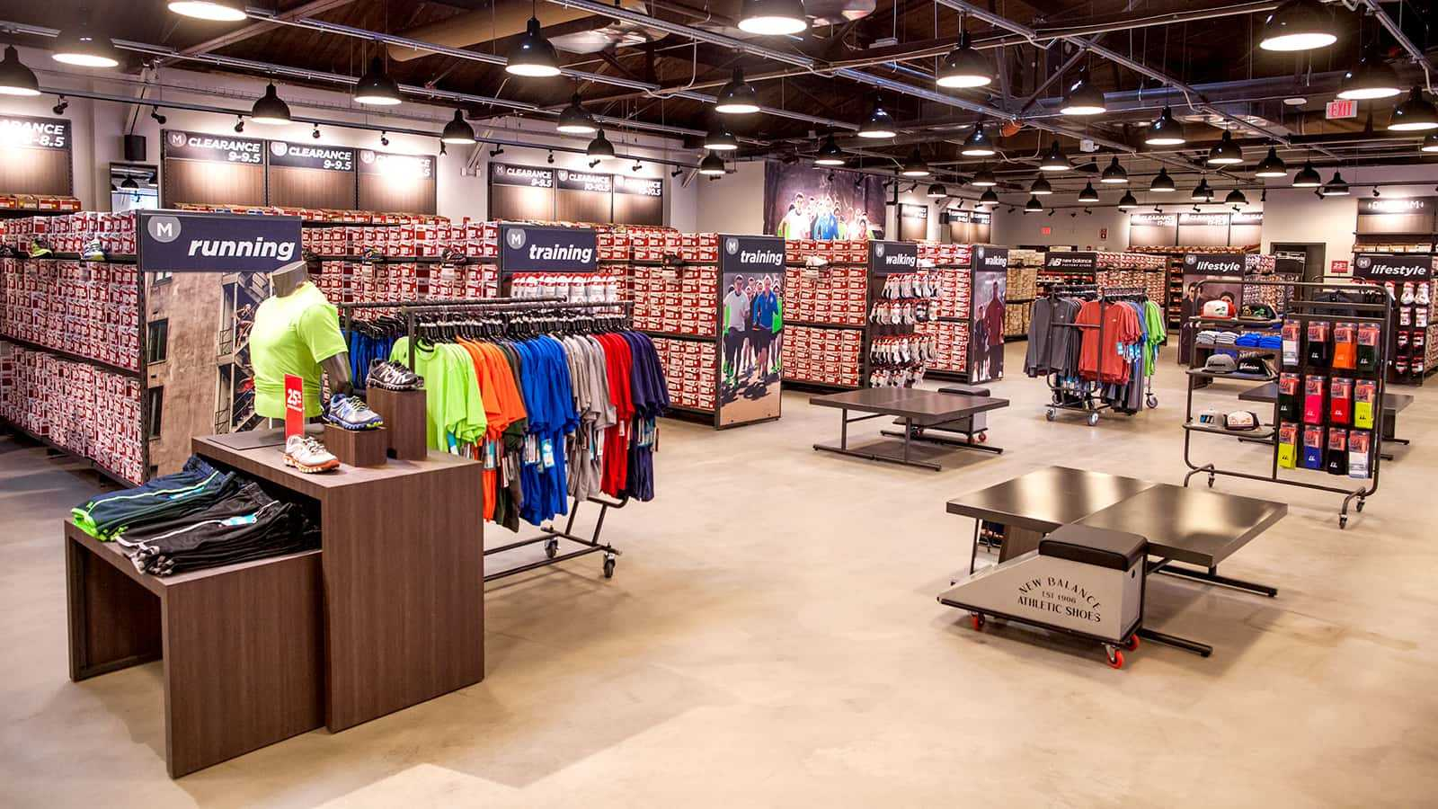 Wide view of New Balance factory stores 2014.