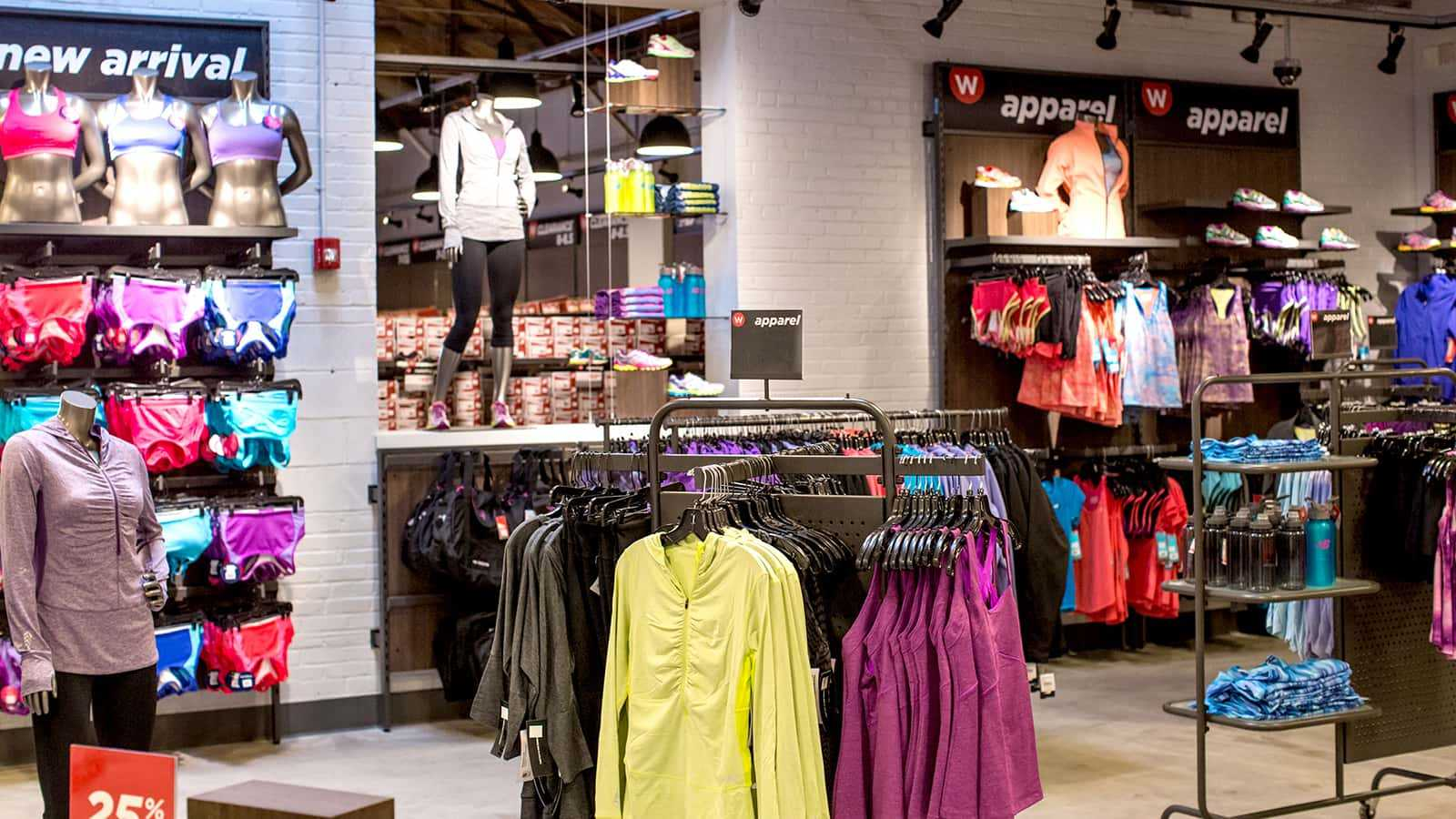 New Balance factory stores 2014 colorful apparel displays.