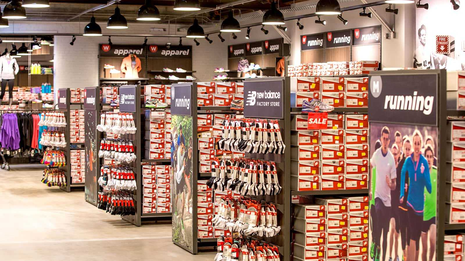 New Balance factory stores 2014 shoe displays.