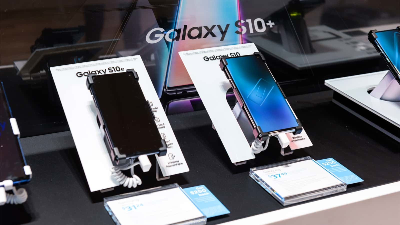 The Samsung Galaxy S10 is on display in stores across the country.