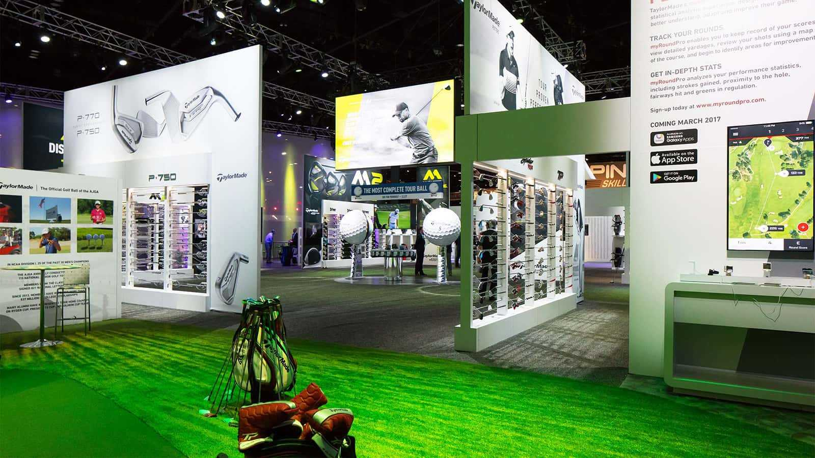 On the green at the TaylorMade PGA Merchandise Show 2017 experience.