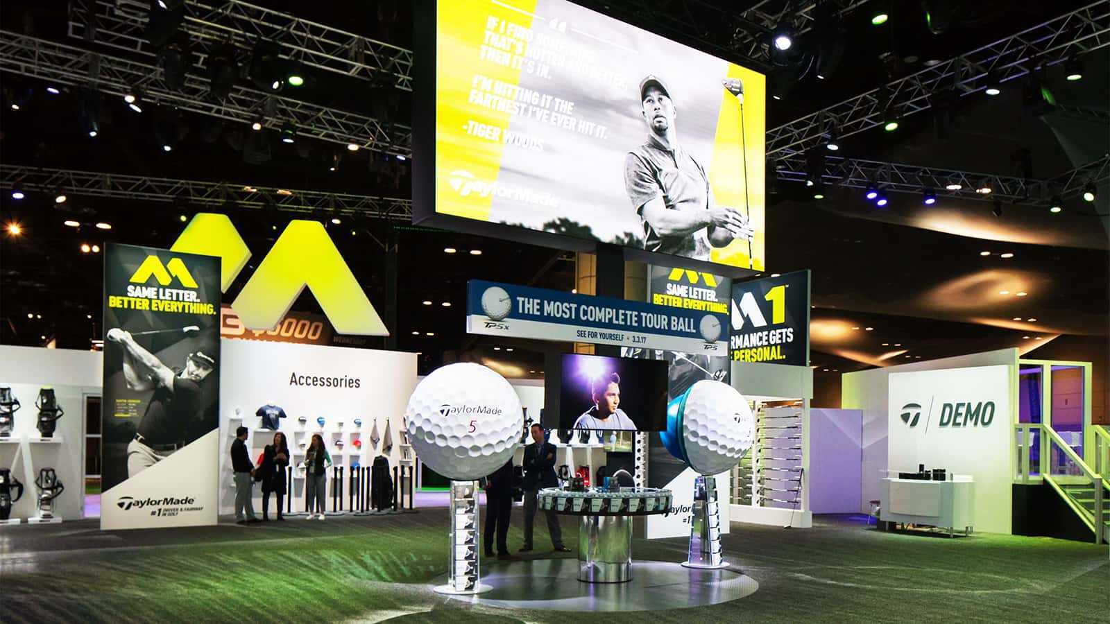 The TaylorMade golf ball display at the TaylorMade PGA Merchandise Show 2017 experience.