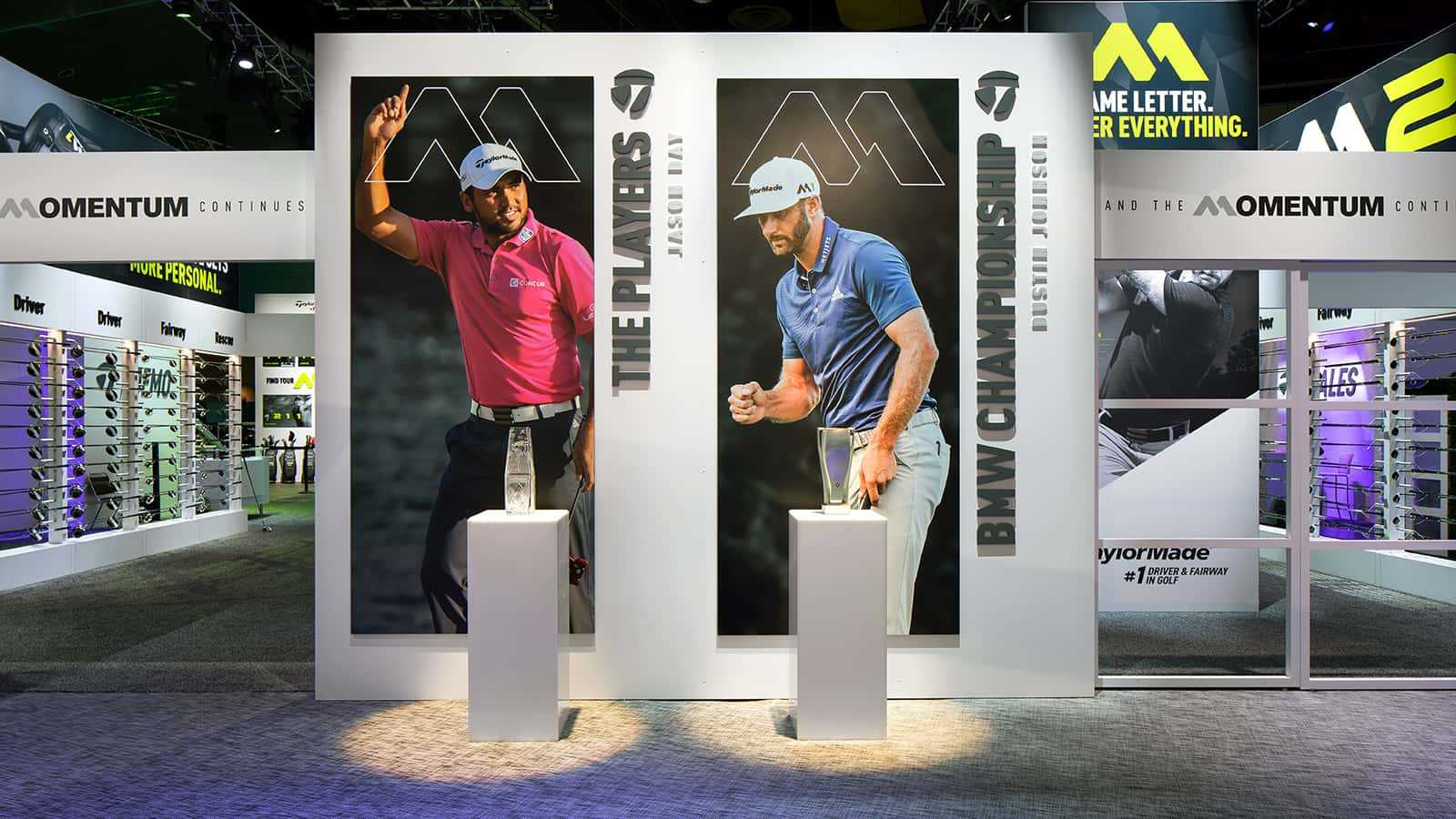 Jason Day and Dustin Johnson championship displays at the TaylorMade PGA Merchandise Show 2017 experience.