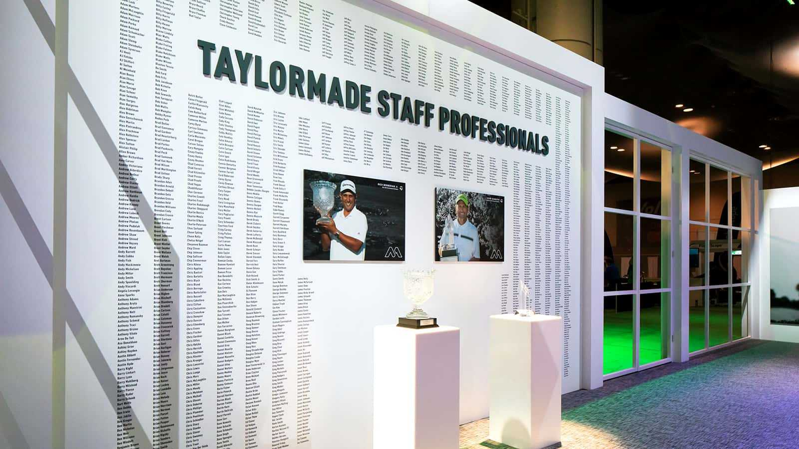 TaylorMade Staff Professionals display at the TaylorMade PGA Merchandise Show 2017 experience.