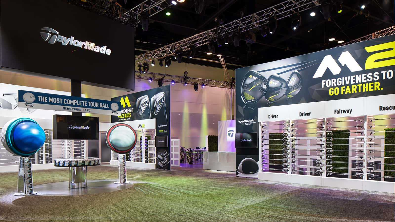 Club display zone at the TaylorMade PGA Merchandise Show 2017 experience.