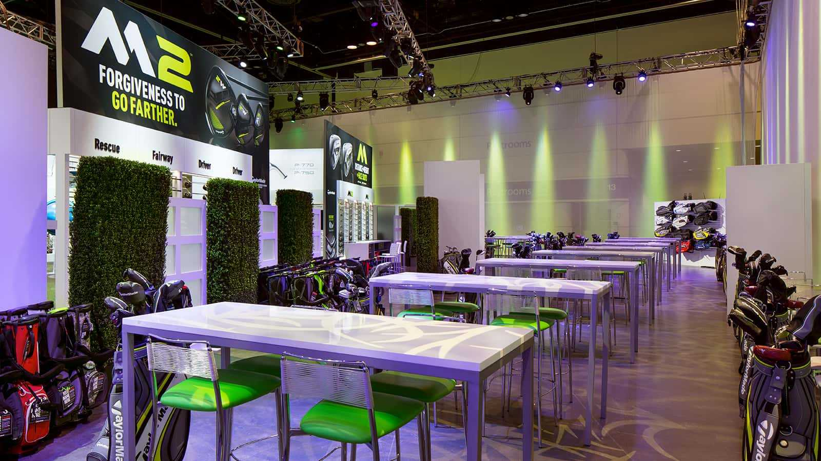 Informal meeting areas at the TaylorMade PGA Merchandise Show 2017 experience.