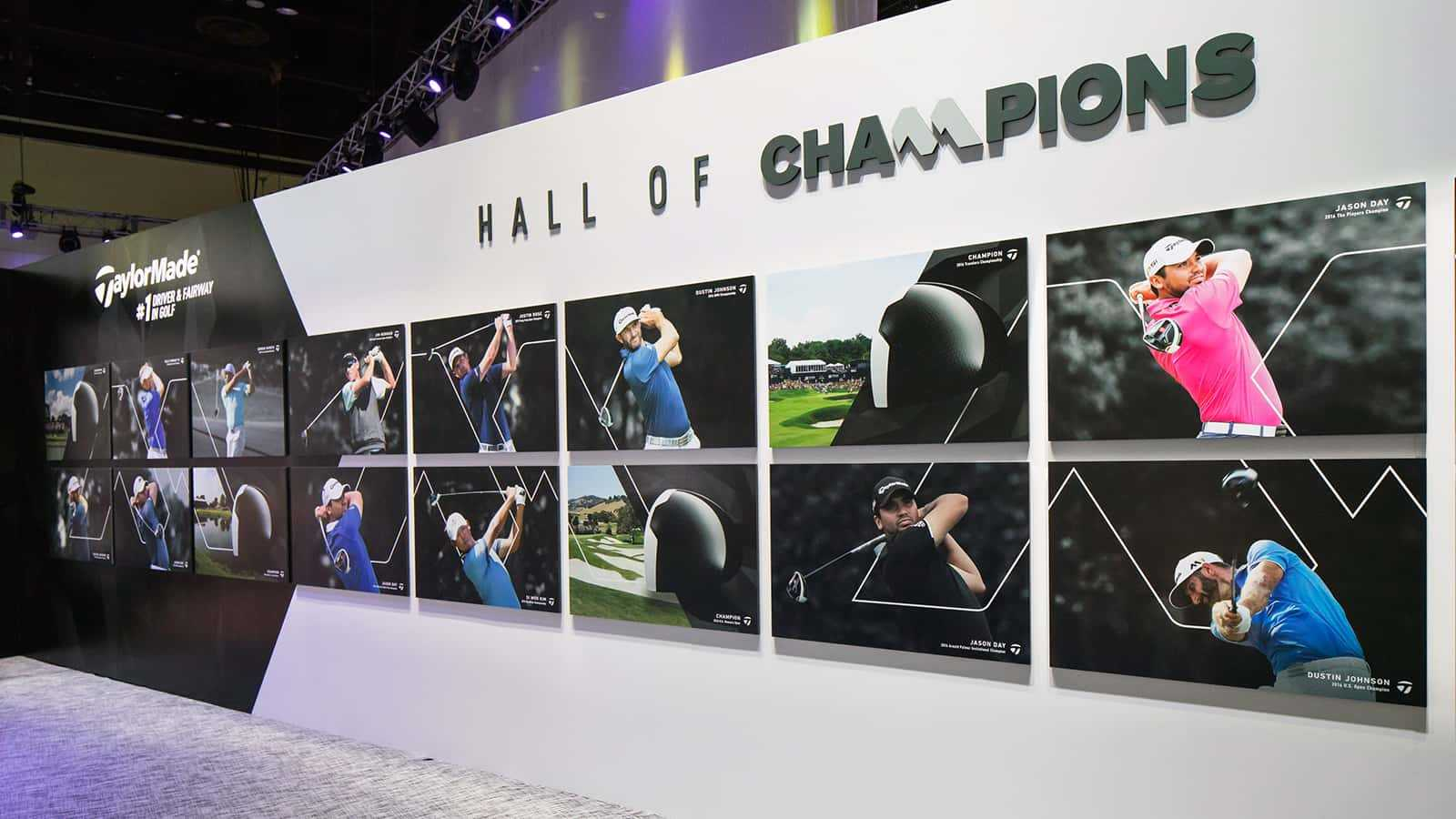 Hall of Champions display at the TaylorMade PGA Merchandise Show 2017 experience.